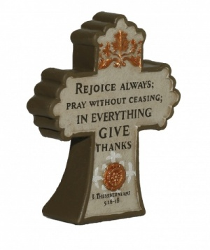 REJOICE ALWAYS... - Cross Plaque