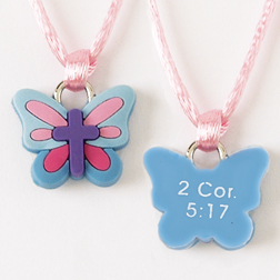 Butterfly with Cross/2Cor. 5:17 Pendant
