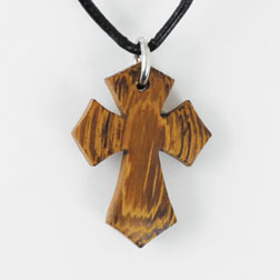 Flared Pointy Wood Cross Pendant