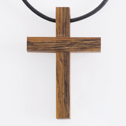 Large Raised Blocks Wood Cross Pendant