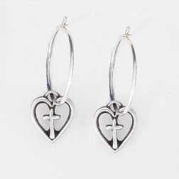 Open Heart w/Cross on Hoop Earrings