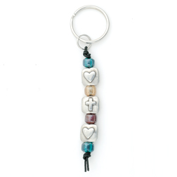 Beaded Cross w/Two Hearts Keyring