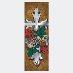 Cross/Roses Scroll Matthew 19 - Page Hugger Bookmark