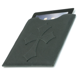 Leather iPad Cover - Black Flared Cross