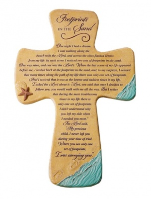 Footprints Resin Cross Plaque
