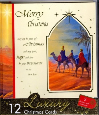 Merry Christmas & Christmas Joy Luxury Christmas Cards - 12 Pack