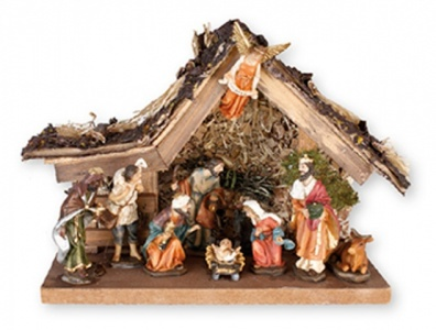 Angel on Stable Roof Small Resin Nativity Scene