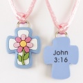 Flower with Cross/John 3:16 Pendant