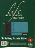 NLT Life Application Personal Size Study Bible (Dark Brown/Teal)