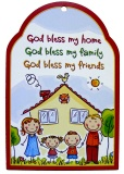 God Bless My Home Portrait with Cat - Wooden Plaque