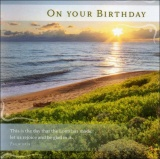 Birthday - Psalm 118:24 Beach Scene Greetings Card