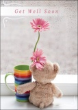 Get Well Soon - Teddy and Flower Card