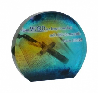 Your Word Is A Lamp Oval Crystal Block