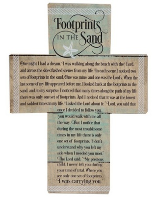 Footprints Cross Plaque