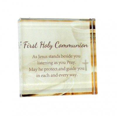 Glass Communion Memento Block