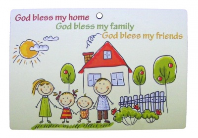 God Bless My Home with Trees - Wooden Plaque