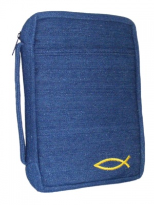 Open Embroided Fish Denim Medium Bible Cover