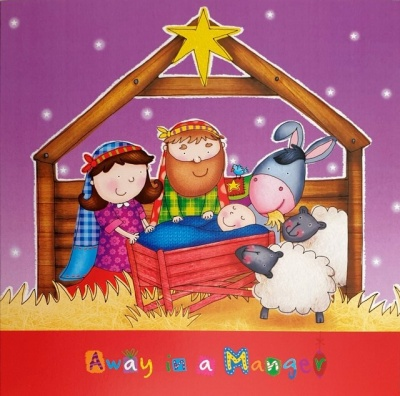 Away in a Manger Cartoon Christmas Cards - Pack of 5