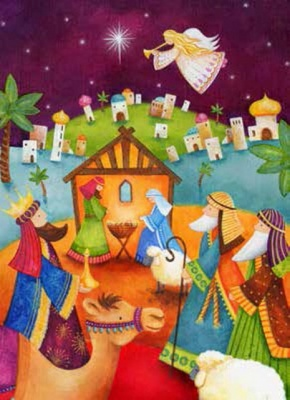 Colourful Nativity Christmas Cards - 5 Pack
